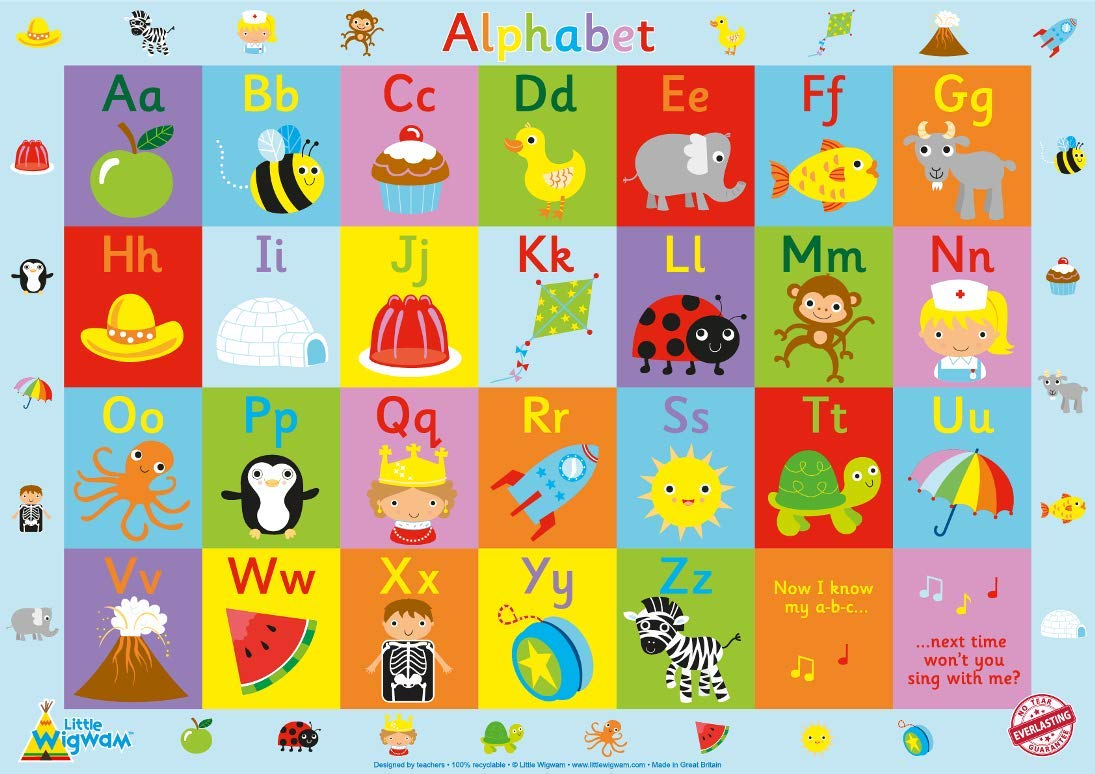 "Little Wigwam Alphabet ""No Tear Guarantee"" Educational Poster (60 x 42cm): Amazon.co.uk: Business, Industry & Science"