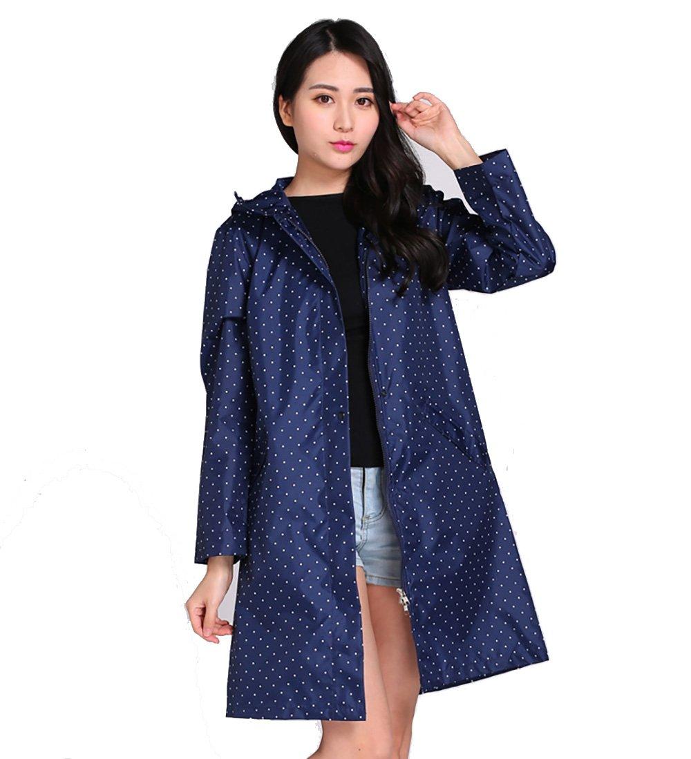 Dark bluee Dotted ZEMIN Rain Jacket Coat Raincoat Poncho Waterproof Rain Jacket Coat Impact Cloth Thin and Light Siamese Breathable Hiking,5 colors, One Size Waterproof (color   Pink, Size   M)