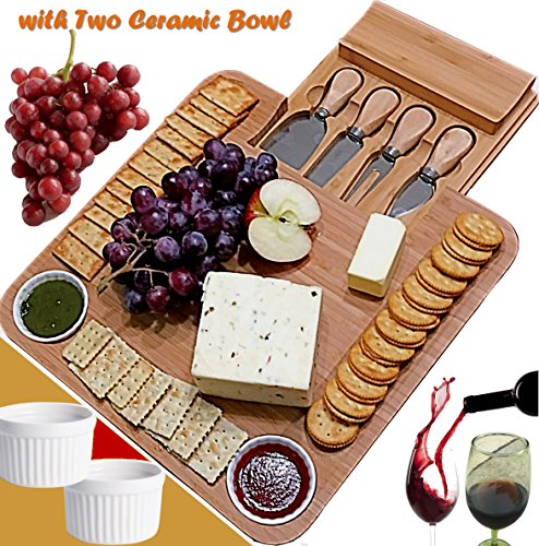 ♻ Bamboo Cheese Board & Cutlery Set with Slide-Out Drawer, Plus Two Ceramic Bowl