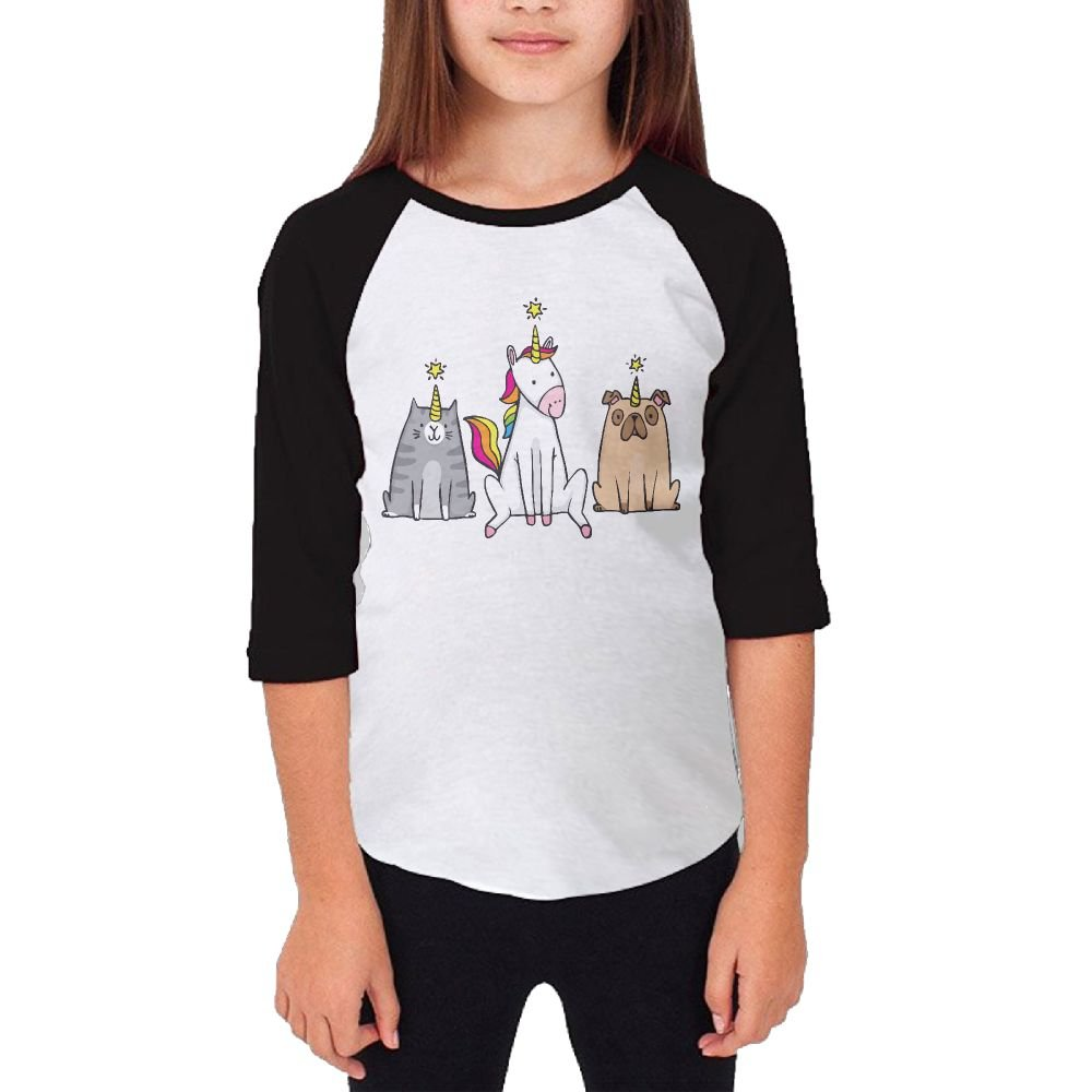 Youth Girl's 3/4 Sleeve Raglan T-shirt Unicorn Caticorn Pugicorn Casual Teenager Tee YouAndYou