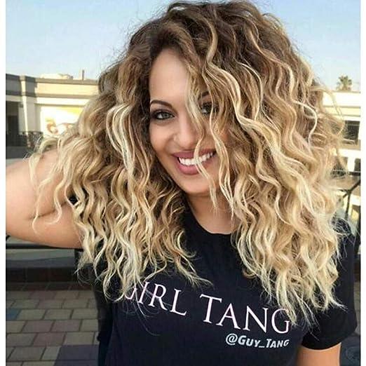 Synthetische Perücken Damen Locken Wellen Blond Synthetische Haare Gefärbte Haarspitzen Ombré Hair Dunkler Haaransatz Mittelscheitel Blond Perücke Mittlerer Länge Kappenlos Braun Blond Amazon De Beauty