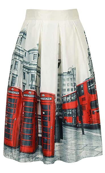 a02509c5c1 Women London Street Skater Skirt Telephone Boxes and Bus Printed A-Line  Skirt