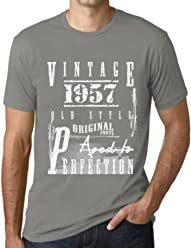71c79fa86 One in the City Men's Vintage Tee Shirt Graphic T Shirt Aged to Perfection  1957 Zinc