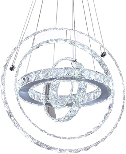 Modern Crystal Chandelier, LED Ceiling Pendant Light Contemporary 3 Rings Stainless Steel Lighting Fixtures for Dining Room Living Room, Cool White 3r Cool White