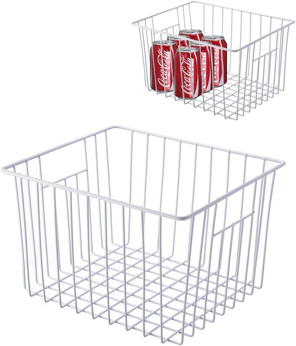 WenZBros Freezer Storage Organizer Basket, Deep Wire Food Organizers Basket, Household Bin Basket with Handles for Kitchen Cabinets, Pantry,Freezer, Bathroom, Closets, Set of 2