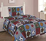 GorgeousHome RUGBY SPORT Boys Quilt OR Sheet Set OR Window Curtain Panel OR Valance Kids/Teens Complete Your Set (3PC TWIN SHEET SET) For Sale