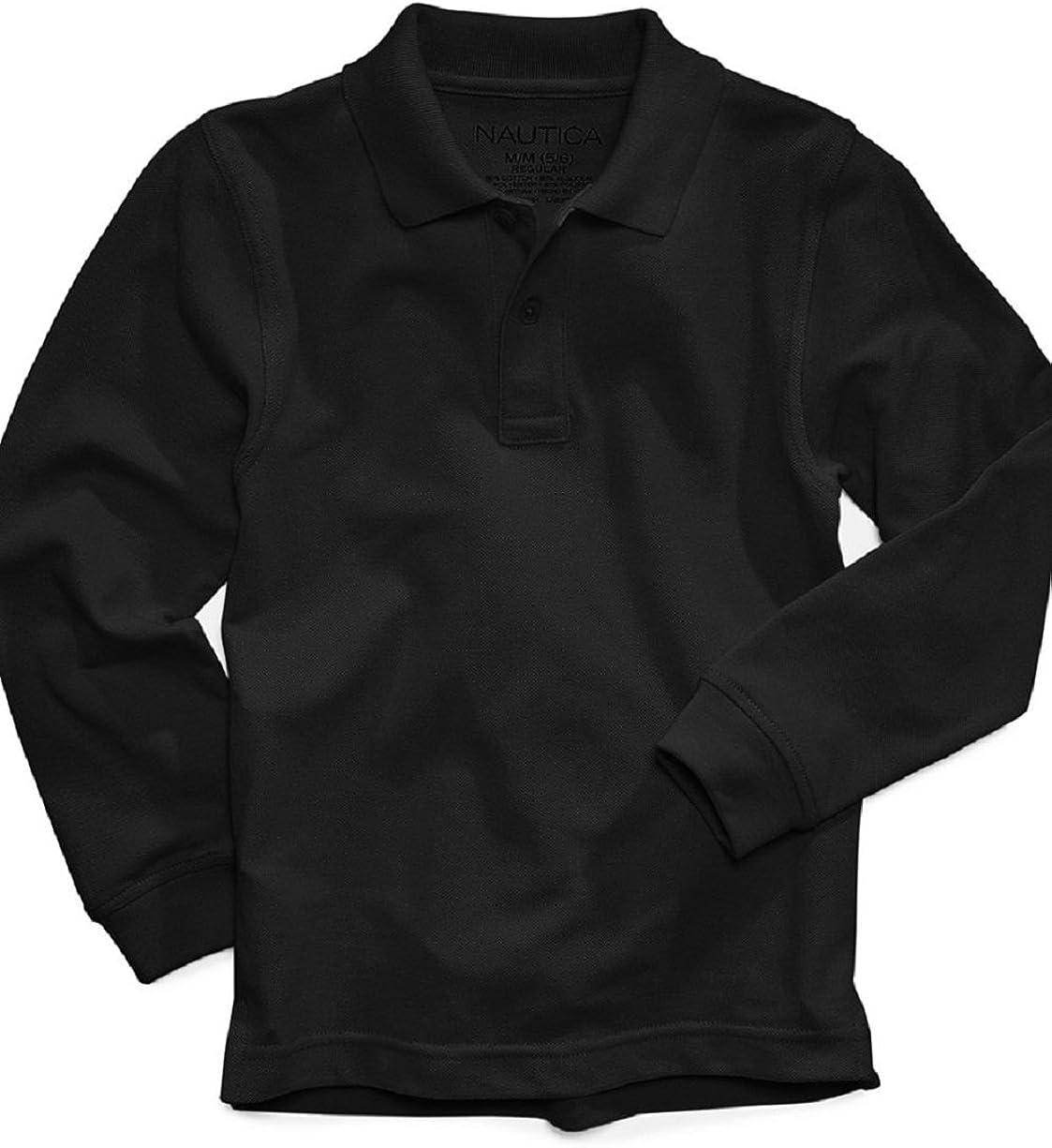 Nautica Boys Uniform Long Sleeve Pique Polo
