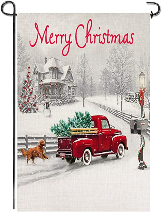 Merry Christmas Garden Flag, Red Truck Tree Dog Snow Rustic Burlap Xmas Seasonal Double Sided Farmhouse Bunting Small Holiday Flag Sign Yard Lawn Porch Indoor Outdoor House Decoration, 12x18 Inch