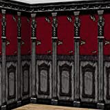 "Amscan Gothic Haunted Mansion House Halloween Trick or Treat Party Scene Setters Room Roll Wall Decoration, Plastic, 48"" x 20', Pack of 2. Decoration, black/red"