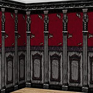 amscan gothic haunted mansion house halloween trick or treat party scene setters room roll wall decoration plastic 48 x 20 pack of 2