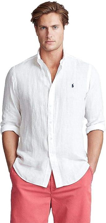 Ralph Lauren Camisa Blanca Logo Marino para Hombre: Amazon.es: Ropa y accesorios
