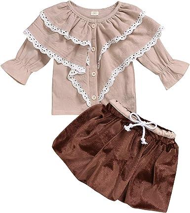 Borlai 2pcs niños niñas Ropa de Moda Conjunto Linda Camisa con Volantes + Falda Corta de Terciopelo: Amazon.es: Ropa y accesorios