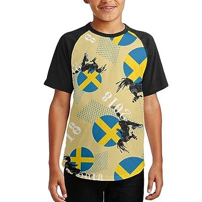 2018 Play Football Sweden Youth Short Sleeves Raglan Print Baseball T Shirts Tops