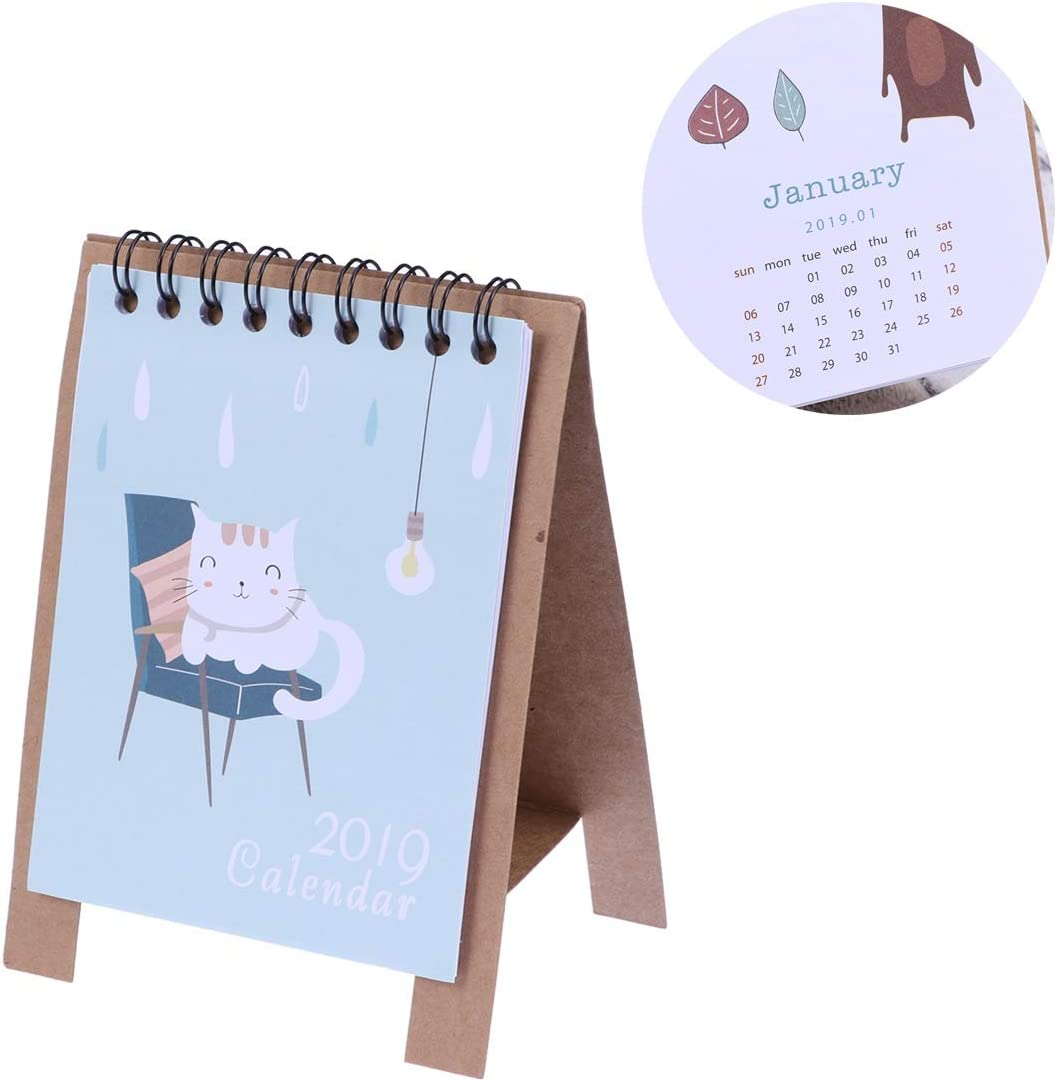 YeahiBaby Calendarios de Mesa 2019 Fresh Cartoon Animals Series ...