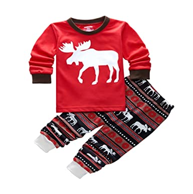 34cfbb7c1eec ISSHE Matching Family Christmas Pajamas Kids Boys Adult Deer Pajama ...