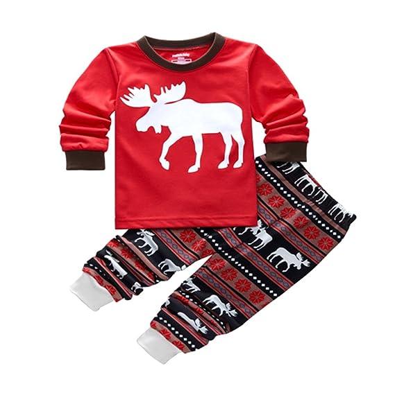 Pijamas de Navidad Familia Pijamas Navideñas Adultos Pijama Familiares Manga Larga Hombre Mujer Niños Niña Chica