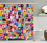 Ambesonne Abstract Shower Curtain, Colored Alphabet Letters Pattern Education School Puzzle Children Graphic Print, Fabric Bathroom Decor Set with Hooks, 70 Inches, Multicolor