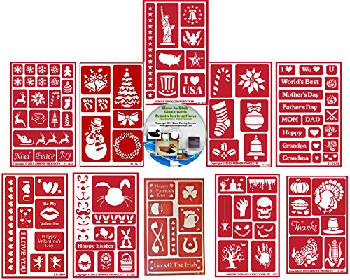 Holiday 10 Pack Reusable Stencils: Christmas, Valentines, Mother Father's Day, Easter, St. Pats, 4th of July, Halloween & Thanksgiving Stencils for Paint or Glass Etching + How to Etch CD -