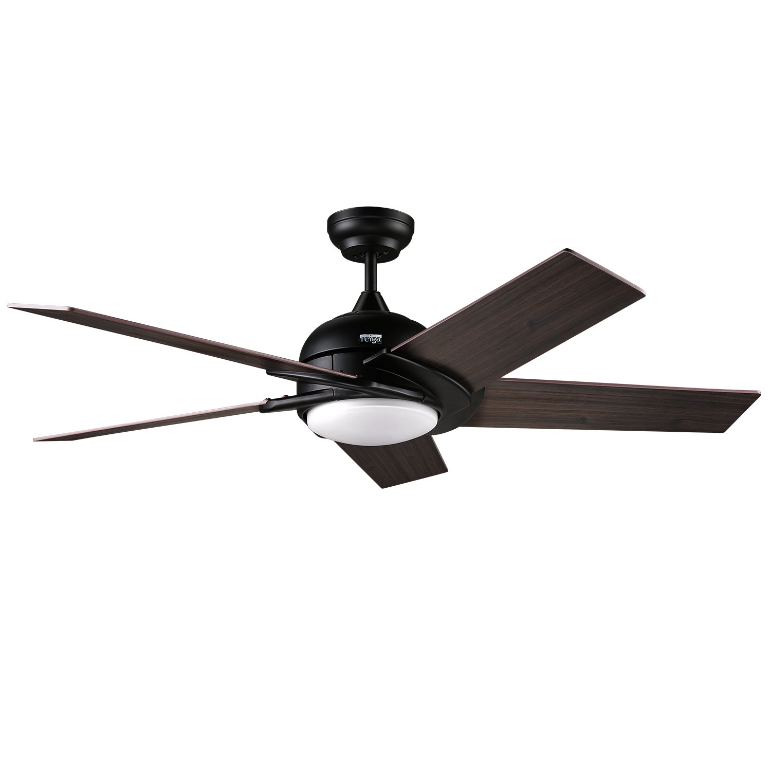 reiga 52-Inch 5 Matt Black Hand-Painted Blades Silent Ceiling Fan with LED Light Remote Control