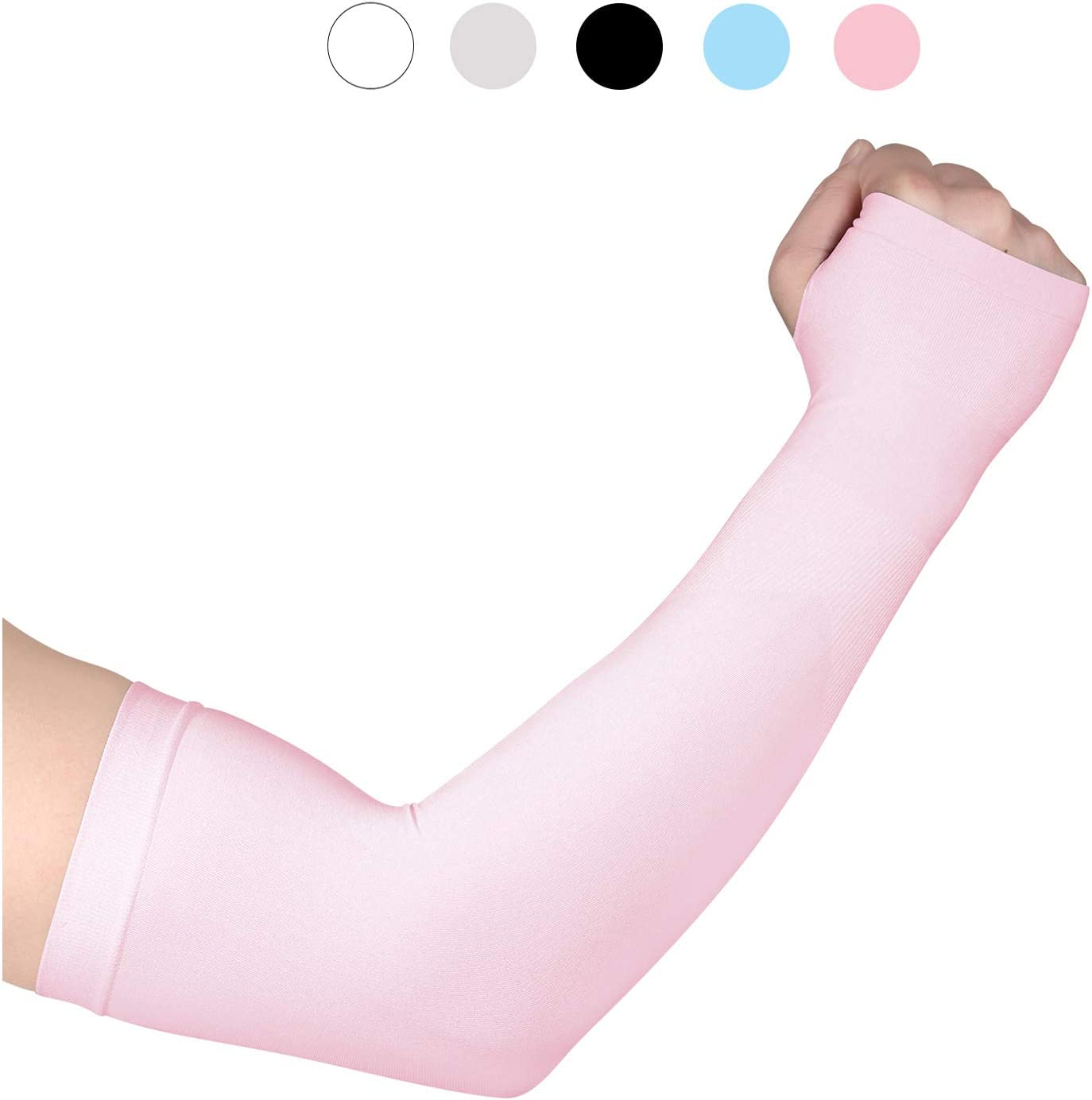 Fycert Sun Protection Anti UV Arm Sleeve Cover Tattoo Protect The Arm Elastic Breathable Ice Silk Sleeves for Outdoor Sports 1 Pair/3 Pairs