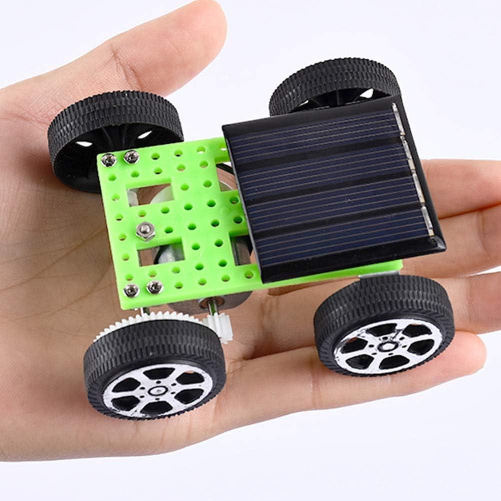 EXCEART 2Pcs Solarauto DIY Montieren Spielzeug Mini Solarbetriebenes Fahrzeug Gehirntraining P/ädagogisches Gadget Wissenschaftliche Stammspielzeug f/ür Kinder Geburtstagsgeschenk Zuf/ällige