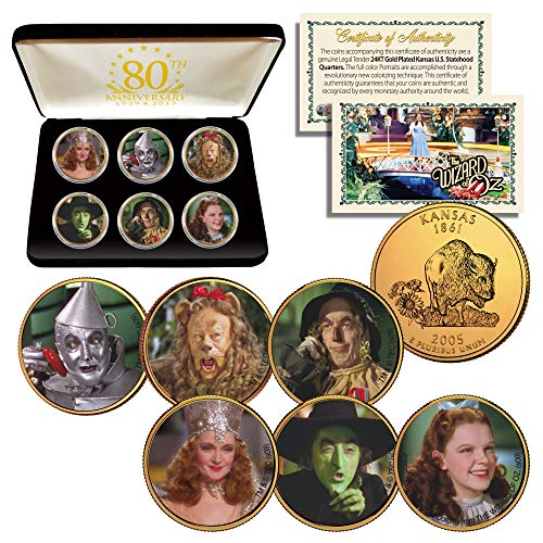 - WIZARD OF OZ Kansas Quarters 24K Gold Clad 6-Coin Set with 80th ANNIVERSARY BOX