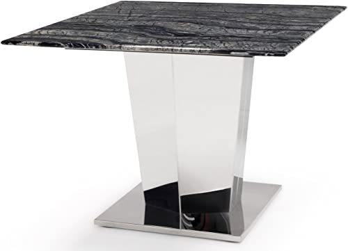 Zuri Furniture Black and White Marble Brushed Stainless Steel Sirah End Table