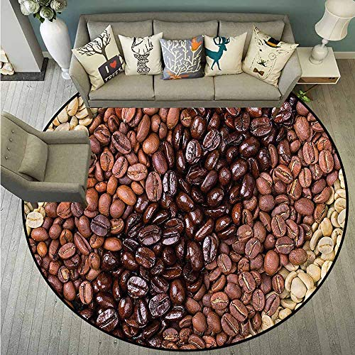 - Indoor/Outdoor Round Rugs,Kitchen,Coffee Beans Stripes,Rustic Home Decor,4'7