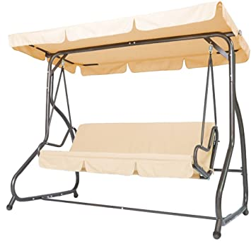 miadomodo garden 3 seater swing hammock hanging chair with bed function  beige  patio furniture miadomodo garden 3 seater swing hammock hanging chair with bed      rh   amazon co uk