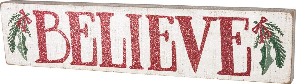 Primitives by Kathy Distressed Red and White Slat Box Sign, Believe 36544