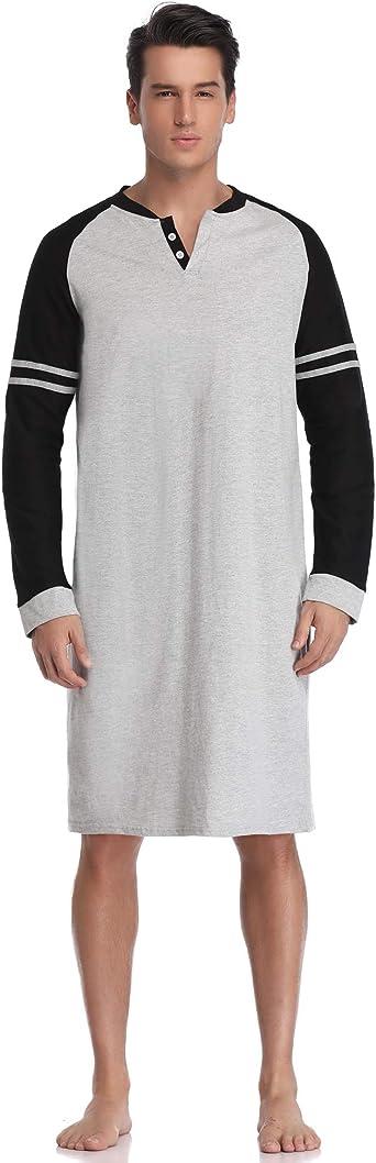 Aibrou Mens Nightshirt Cotton Short Sleeve Nightwear Comfy Henley Sleepwear