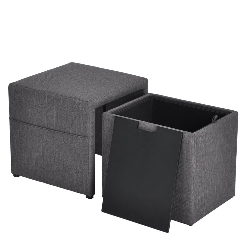 HOMY CASA 17'' Storage Ottoman w/Pull Out Drawer & Side Pocket - Gray Linen - Square Foot Rest Stool, Small Cube Table Ottomans by HOMY CASA (Image #6)