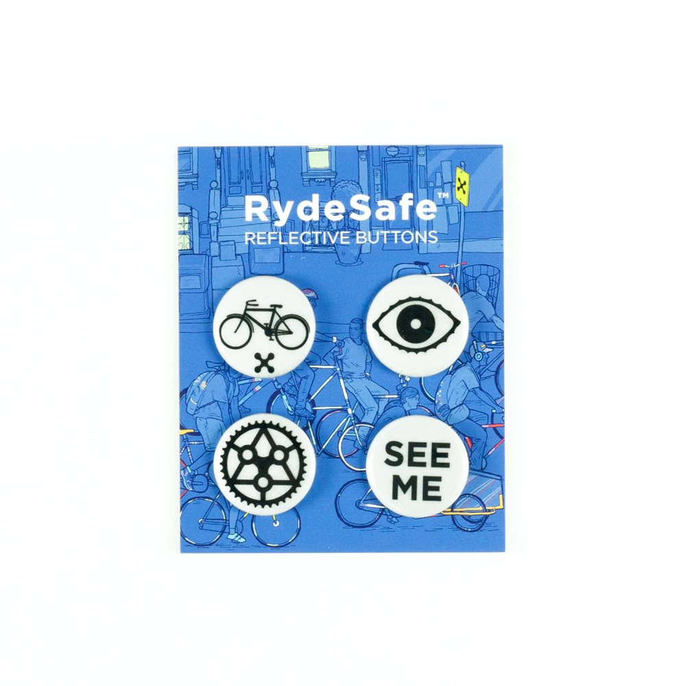 RydeSafe Reflective Buttons - Cycling - 4 Pack