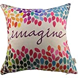 Decorative Pillow Cover - HOSL Cotton Linen Square Decor Throw Pillow Case Cushion Cover Colorful Imagine 18
