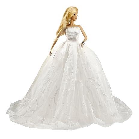 Amazon.com: Barbie Princess Sweetheart Chapel Train Tulle Wedding ...