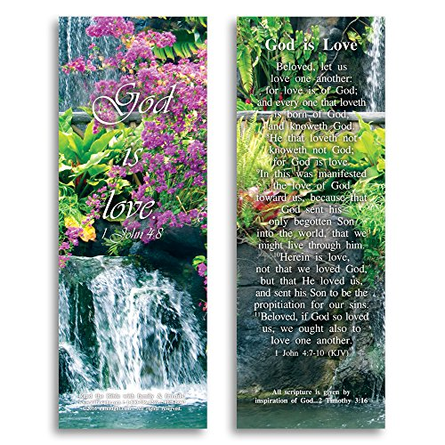 Love One Another Bookmarks (Bible Verse Cards, by eThought - 1 John 4:8 - God is Love - Pack of 25 Bookmark Size Cards for reading, study, gifts and encouragement.)
