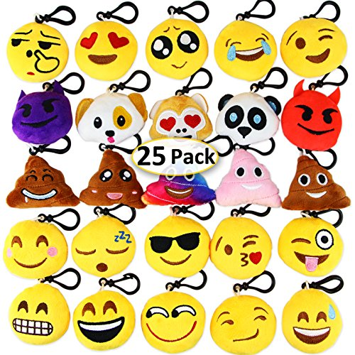 - Dreampark Emoji Keychain Mini Cute Plush Pillows, Christmas Key Chain Decorations, Kids Party Supplies Favors, Easter Eggs Fillers 2