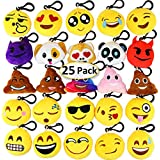 """Dreampark Emoji Keychain Mini Cute Plush Pillows, Christmas Key Chain Decorations, Kids Party Supplies Favors, Easter Eggs Fillers 2"""" Set of 25"""