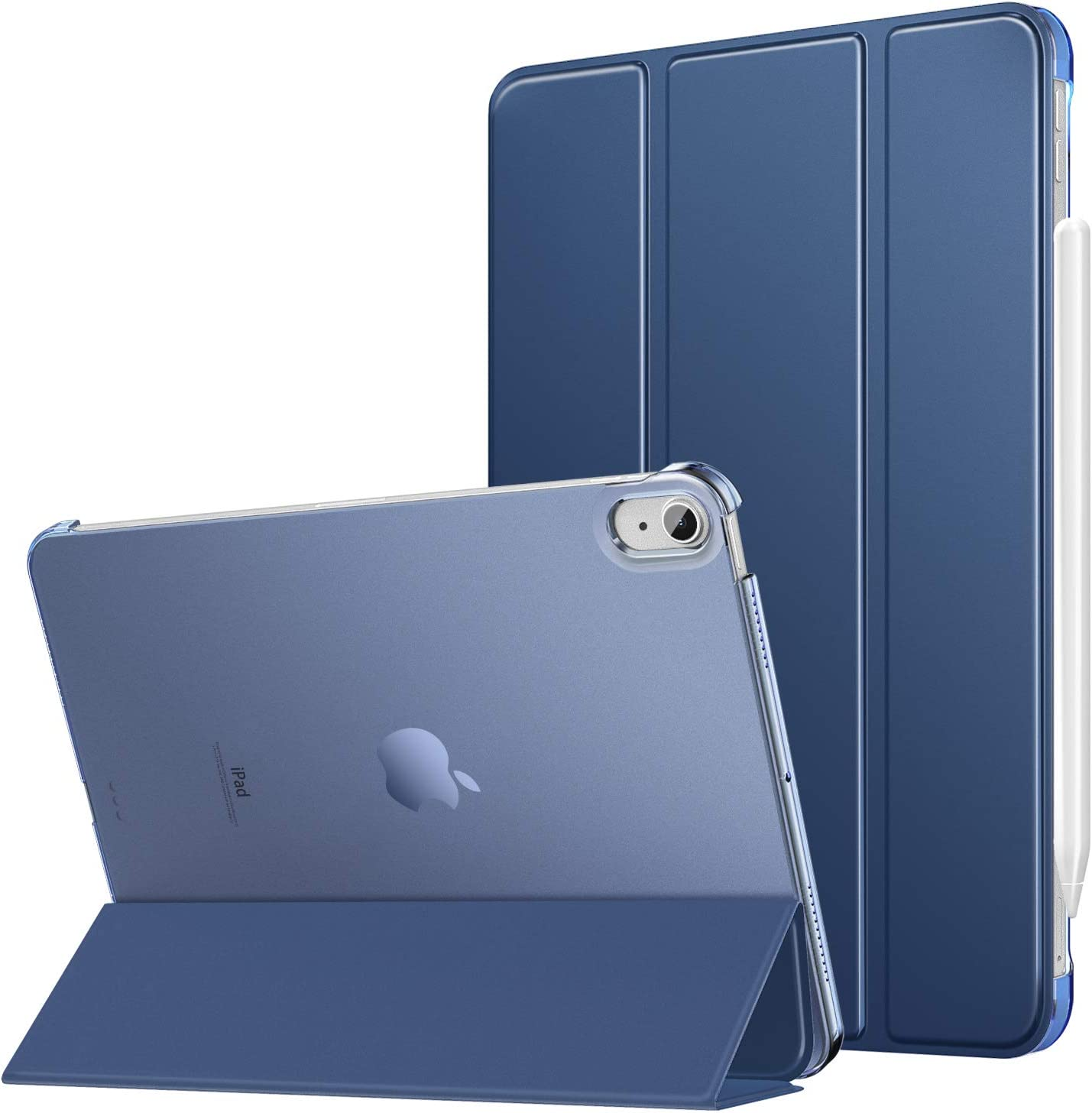 MoKo Funda para iPad Air 4ta Generación 2020 iPad 10.9 2020 Tableta, [Admite Carga Inalámbrica Apple Pencil] Trasera Transparente Ultra Delgado Soporte Protectora Plegable Cubierta, Azul Marino