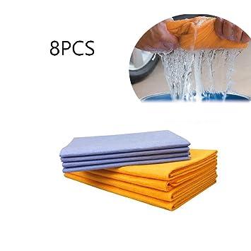 Juego de 8 toallas antigrasa de fibra de bambú para lavar en el lavavajillas, cocina