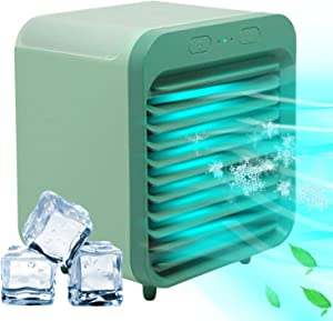 Personal Air Cooler Portable Air Conditioner Humidifier, 2-in-1 Mini Air Cooler, 3 Wind Speeds, Large Water Tank, Ultra Quiet Work, USB Table Fan for Home Bedroom Office Indoor Outdoor