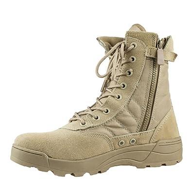 Meedot Herren Outdoor Boots High Top Sneaker Stiefel Combat Boots Einsatzstiefel Kampfstiefel Wanderstiefel Schuhe Leinenschuhe Worker Boots Schwarz 42 yzuNk3w5