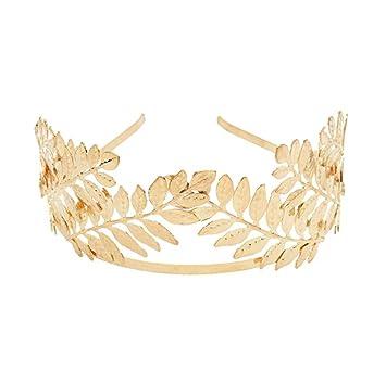 Bridal Gold Olive leaves Pearl Hair Vine Crown Forehead Headband Headpiece Tiara