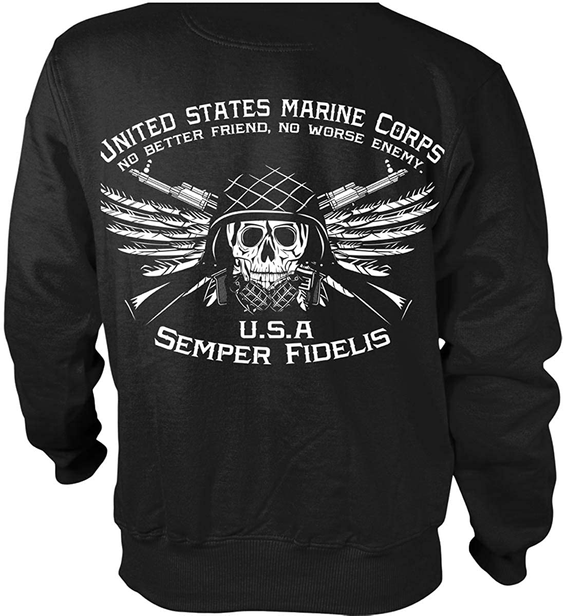 MARINES HOODIE GRAY Usmc Us Hooded Military Sweatshirt Marine Corps Semper Fi US