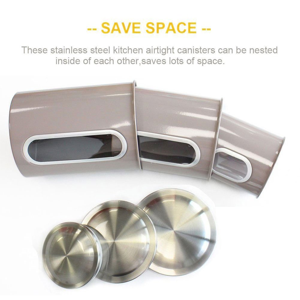 Kitchen Canisters,Stainless Steel Canister Set of 3,Canister Sets for Kitchen,Nested Food Storage Canisters with Airtight Lids and Visible Windows,Gray