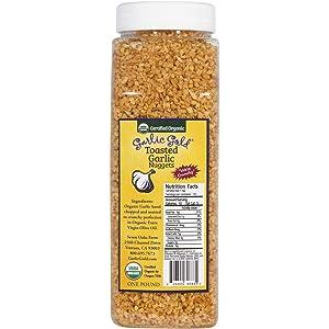 Organic Garlic Gold Nuggets, Crunchy Roasted Garlic Seasoning Granules, Sodium Free no MSG Soy Free, Vegan Keto Paleo Food, SALAD TOPPING 1 LB