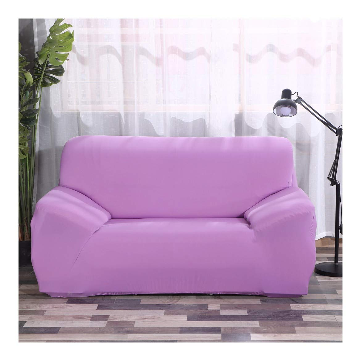 4seat VGUYFUYH Light Purple Four Seasons Universal Sofa Cover Full Package Elasticity Home Universal Sofa Cover Simple Fashion One Set Durable Dust-Proof Pet Dog Predective Cover,4Seat