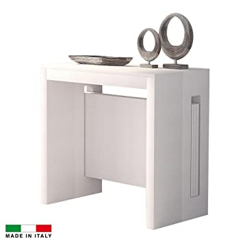 Table Extensible Rallonges Integrees.Table Console Extensible Grazia 3 Allonges Integrees Blanc