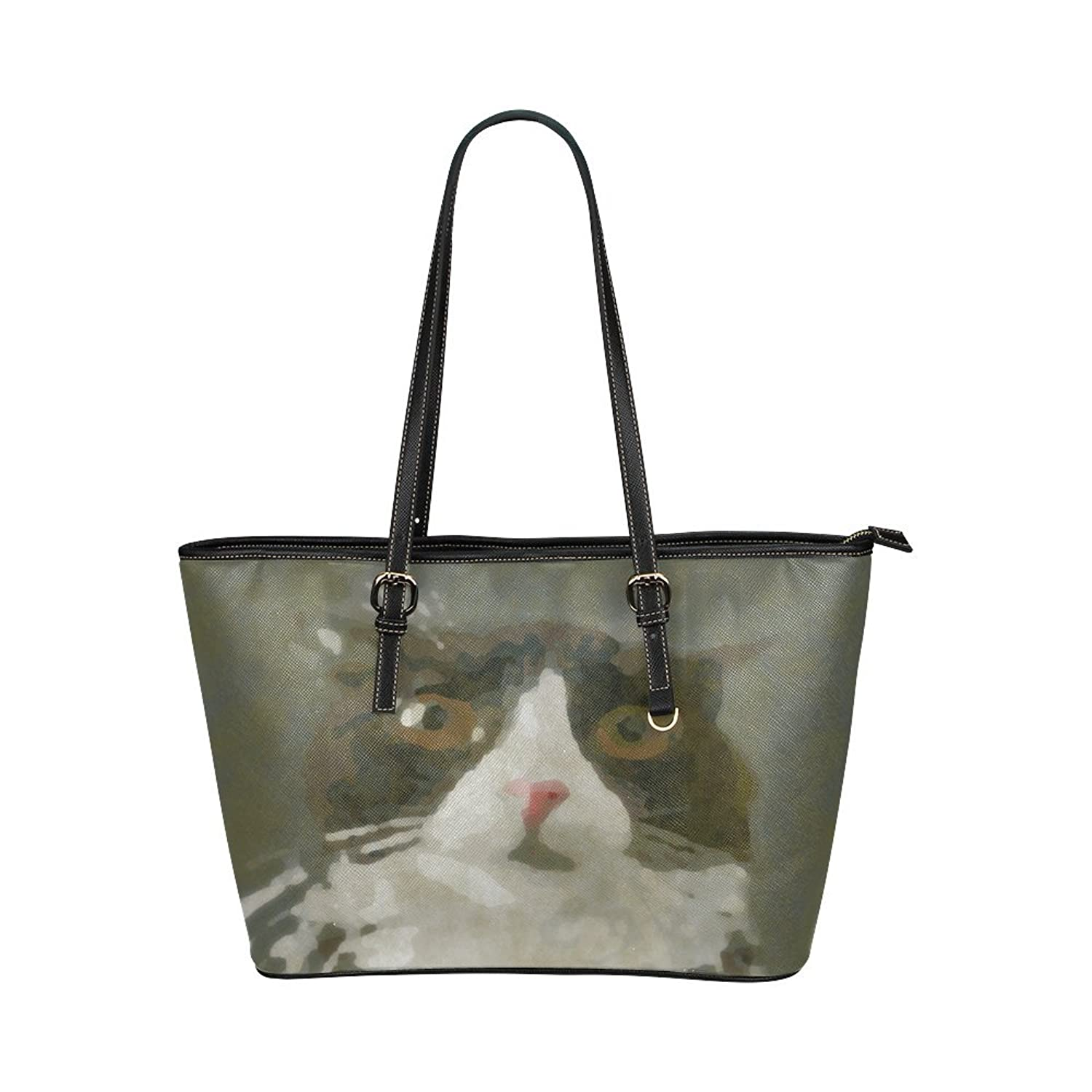 Nicedesigned Tote Bag Cat With The Cream Leather Tote Shoulder Bag Handbag for Women Girls