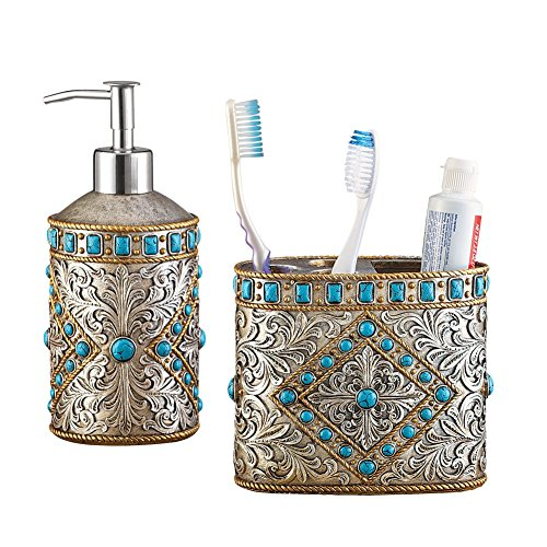 Antique Southwest Turqouise 2 Piece Bath Accessories Set, Includes Soap Pump and Toothbrush Holder
